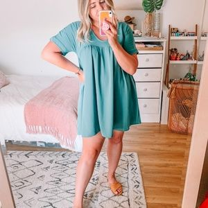 Connect To Your Heart Teal Dress